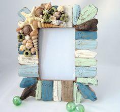 Beach Decor Driftwood & Seashell Frame - Nautical Decor Shell Frame, Green / Blue