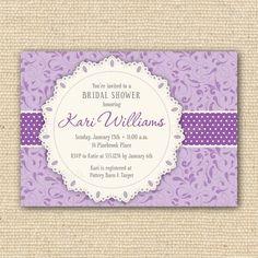 Purple Floral Shabby Chic Bridal Shower Printable Invitations