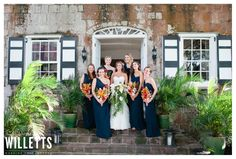 In front of the Great Room. Wedding at Montpelier: Katie and Nick. #Nevis #wedding