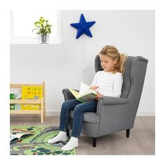 IKEA STRANDMON children's armchair-or cat chair if you're more like me. Strandmon Ikea, Ikea Armchair, Kids Sofa, Ikea Family, Fabric Armchairs, Kids Furniture, Furniture Dolly, Luxury Furniture, Kids Bedroom