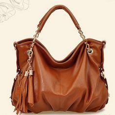 Genuine Leather Tassel Handbag Shoulder Bag