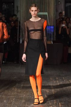 "Katie Gallagher Fall 2017 Ready-to-Wear Fashion Show - Model Laura walks runway in an outfit from the Katie Gallagher Fall 2017 ""Hallow"" collection, at 72 Allen Street on February 9, 2017 at New York Fashion Week Fall 2017."