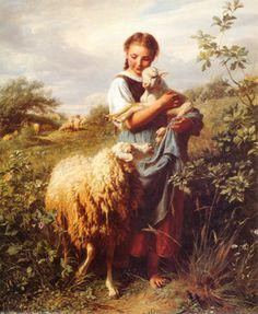 The Shepherdess - Johann Baptist Hofner (1832-1913, German)