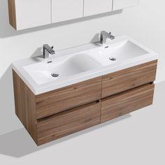 Cordoue meuble salle de bain noyer 141 cm double vasque pierre