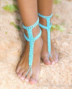 Sandalias Descalzas azul turquesa con botones Crochet