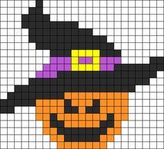 Evil Pumpkin Halloween Perler Bead Pattern