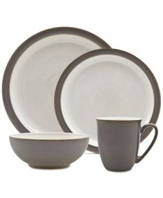 Denby 4-Pc. Truffle/Canvas Blend Dinnerware Set  sc 1 st  Pinterest & Thomson Pottery Nevada Black 16-Pc. Set Service for 4 - Dinnerware ...