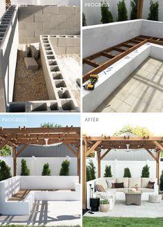 DIY backyard ideas Emily Henderson patio on a budget Small Backyard Design, Backyard Patio Designs, Small Backyard Landscaping, Pergola Patio, Diy Patio, Budget Patio, Patio Stone, Patio Privacy, Small Patio