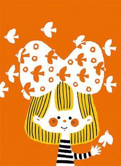 *Higuchi Sakuya* cute scandi retro kitsch style inspired illustration print , girl and birds Japanese Illustration, Children's Book Illustration, Graphic Design Illustration, Illustrations Vintage, Illustrations And Posters, Bunt, Illustrators, Book Art, Design Art
