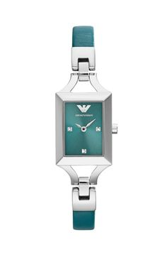 Emporio Armani Rectangle Leather Strap Watch, 20mm x 26mm available at #Nordstrom