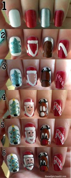 Step by step for cute Christmas nails