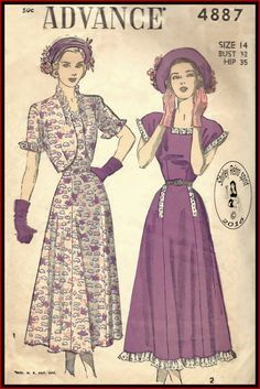 Advance 4887-1948 Vintage Sewing Patterns Advance 1940s Dresses Jackets Ruffles Cap Sleeves Short Sleeves Gored Skirts Boleros Extended Shoulders Eyelet Edging Insets Topstitching Square Neckline Shaped Hemline Flared Skirts Midi