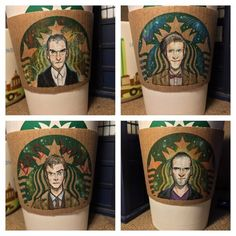 The 12 Doctors Get Re-Imagined on Starbucks Coffee Cups http://cheezburger.com/441861