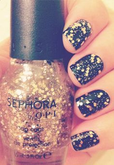only gold for me + onyx black #sephora by #OPI #nailpolish