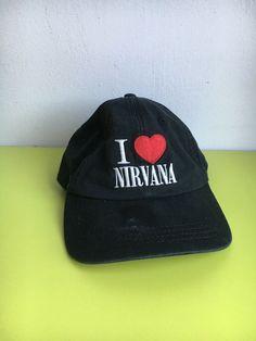 1c8e55bf132 NIRVANA I Love Nirvana Black Canvas Hat Adjustable Sun Pop Kurt Cobain.   fashion