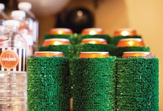 L-O-V-E these turf can holders! Perfect for your football party! #superbowl #party #berrycards