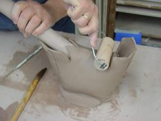 so many great ideas for ceramics. brayer-to-bond-the-clay-dowel-inside-for-support1
