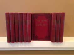 Book of knowledge vintage early 20th-century 10 volume set red colored