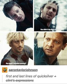 this is such a sad scene. When Quicksilver dies. UGHHH. Saving one of my favorite avengers life! Hawkeye.