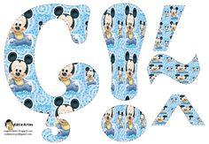 Disney Fun, Baby Disney, Festa Mickey Baby, Alfabeto Disney, Baby Mouse, Mickey And Friends, Creative Cards, Alphabet, Cross Stitch