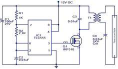 С3 и С2 должны быть 25V керамических конденсаторов. C1 должен быть электролитический. Для T1, использовать 10W, 230V, чтобы 10В понижающий трансформатор в перевернутой конфигурации. То есть 10V обмотки должен быть подключен к стороне MOSFET и 240V обмотки должен быть подключен к флуоресцентной сторону лампы. Используйте аккумулятор 12В свинцово-кислотных для питания схемы. Лучше, чтобы исправить теплоотвод к Q1. Люминесцентной лампы может быть из 4W одной.