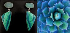 Amazing handmade earrings. They have a rare combination of Malachite and Chrysocolla that actually grow and marble together.