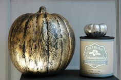 Use Artisan Enhancements Leaf & Foil Size and metallic foils to create a beautiful, metallic finish on both real and artificial pumpkins!  Seal with Clear Finish to optimize shine!  Get more pumpkin paint finish ideas on the Artisan Enhancements blog!