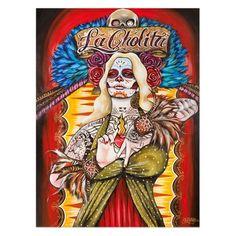 La Cholita by Gustavo Rimada Tattoo Art Print  Day of the Dead Sugar Skull