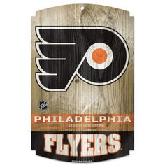 "NHL Philadelphia Flyers 11-by-17 Wood Sign by WinCraft. $22.99. Hardboard wood signs are 1/4"" thick, decorated with quality graphics to resemble   an antique wood finish. A matte finish laminate top is added for greater durability   and a precision cut smooth edge makes this a great indoor decor sign. Made in USA"