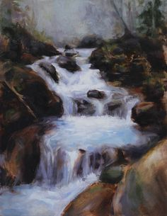 oil  painting rustic waterfall art colleendeiss26@gmail.com
