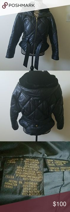 Othello Pelle genuine leather, hooded jacket Gently worn, quilted leather, fur lined hood, zippered pockets, fits like medium Otello Pelle Jackets & Coats Puffers
