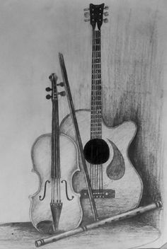 23 Ideas art pencil shading for 2019 - Zeichnung Pencil Art, Art Drawings Simple, Music Painting, Sketches, Guitar Drawing, Object Drawing, Art Drawings Sketches Pencil, Music Drawings, Still Life Drawing