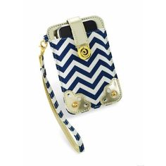Amazon.com: Mud Pie Navy Gold and Chevron Wristlet Cell Phone Case-White