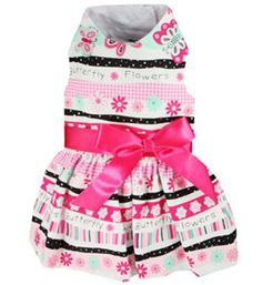 Dog Clothes Harness Dress Flowers And Butterflies