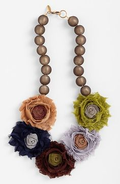 fabric beaded necklace - this is so different - could be really cute with a solid top