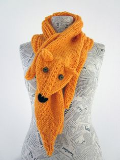 Hand knit fox scarf in yellow orange with polymer clay by AmeBa77