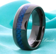 Blue Ceramic Wedding Ring,Mens Ceramic Ring,Dome Shapped Black Band,Blue Carbon Fiber Inlay,8mm,Anniversary Ring,Personalized Ceramic Ring