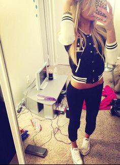 black and white letterman jacket follow me @ ★☆Danielle ✶ Beasy☆★