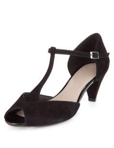 Marks Spencer Footglove Suede Mid Heel T Bar Wide Fit Sandals