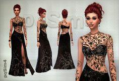 PQSims4: Evening Dress Chocolate Temptation • Sims 4 Downloads