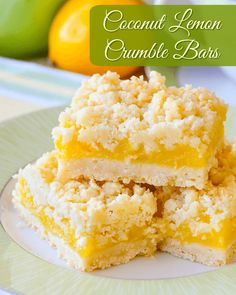 A year old family recipe that combines coconut and tangy lemon filling in a buttery crumble bar cookie. Freezes quite well too. These coconut lemon crumble bars come from a very Lemon Dessert Recipes, Lemon Recipes, Baking Recipes, Cookie Recipes, Baking Ideas, Newfoundland Recipes, Biscuits, Rock Recipes, Lemon Cookies