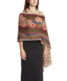 Look at this #zulilyfind! Brown & Pink Floral Embroidered Wool Shawl by Aziza #zulilyfinds   I COULD TRY THIS IN CROCHET.
