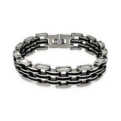 Stainless Steel Biker Style Black Rubber Bracelet