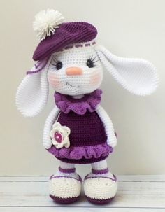 Pretty Bunny amigurumi in pink dress Bunny doll crochet pat. - Pretty Bunny amigurumi in pink dress Bunny doll crochet pattern - Crochet Pikachu, Crochet Bunny Pattern, Crochet Rabbit, Crochet Animal Patterns, Crochet Patterns Amigurumi, Amigurumi Doll, Crochet Dolls, Crochet Diy, Easter Crochet