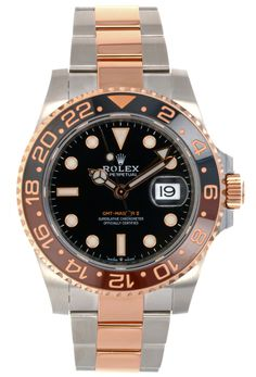 Everose Rolesor case with Oystersteel monobloc middle case, screw-down Everose gold crown, Everose gold bidirectional rotatable graduated bezel wit Rolex Gmt Master, Time Zones, Cyclops, Gold Crown, Rolex Watches, Markers, Sapphire, Lens, Middle