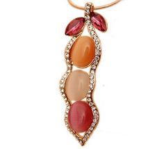 Fashion Pod Shape Shiny Cat Eye Stone Alloy Necklace for Decoration
