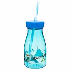 Nostalgic milk bottle shape is fun for kids to use every day! Tritan--shatterproof, break-resistant, durable. Splash-proof, screw-on lid with straw. Sturdy base helps prevent tipping .
