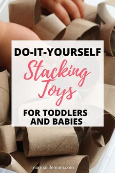 Easy DIY toys for babies and toddlers. Use every day objects for your babies to learn how to stack! DIY toys that you can make up cycling objects from at home. Indoor Activities For Kids, Infant Activities, Toddler Preschool, Toddler Crafts, Kids Crafts, Stacking Toys, Before Baby, Baby Hacks, Baby Tips