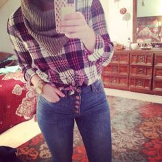 Plaid and five button high waisted denim #stylebyk #kohls #juniors #urbanoutfitters #h&m #plaid #fivebutton