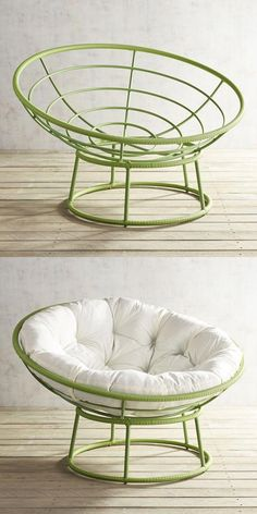 Outdoor Peridot Green Papasan Chair Frame - Pier iconic Papasan goes green for a bright pop of colorful fun. Iron Furniture, Dream Furniture, Home Decor Furniture, Furniture Projects, Furniture Design, Deco Cafe, Papasan Chair, Room Decor Bedroom, Home Crafts